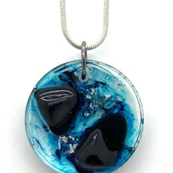 Round pendant with Black Obsidian